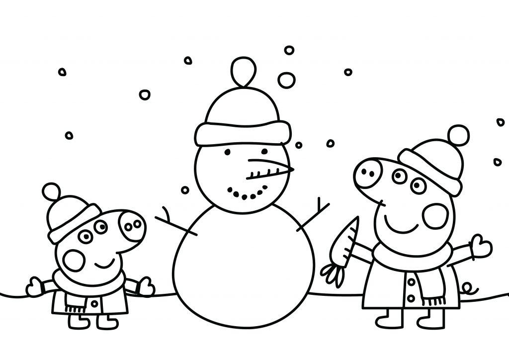 Peppa Pig Christmas Snowman Printable Colouring Page - DRAKL