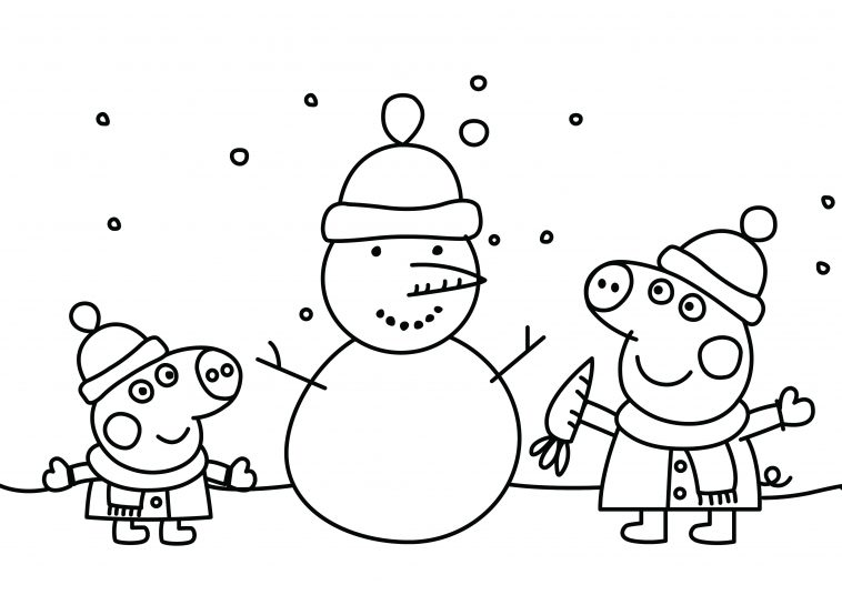 Peppa Pig Christmas Snowman Printable Colouring Page - DRAKL
