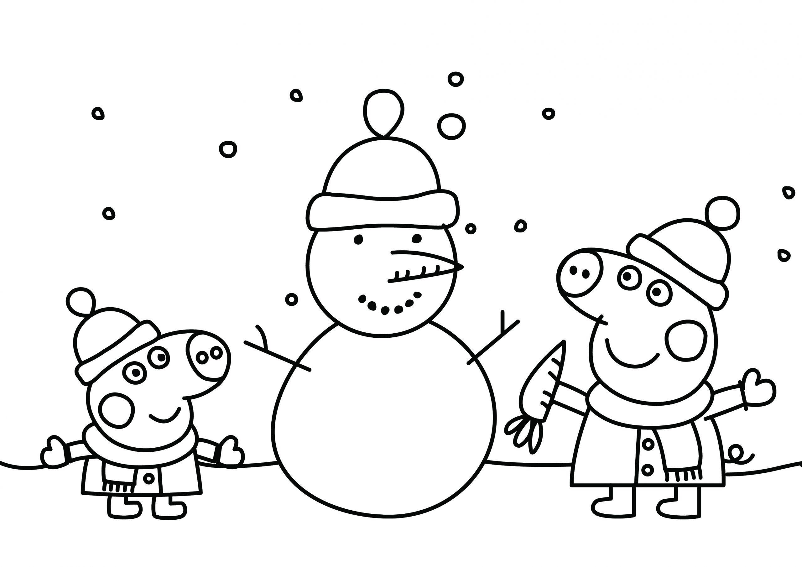 - Peppa Pig Christmas Snowman Printable Colouring Page - DRAKL
