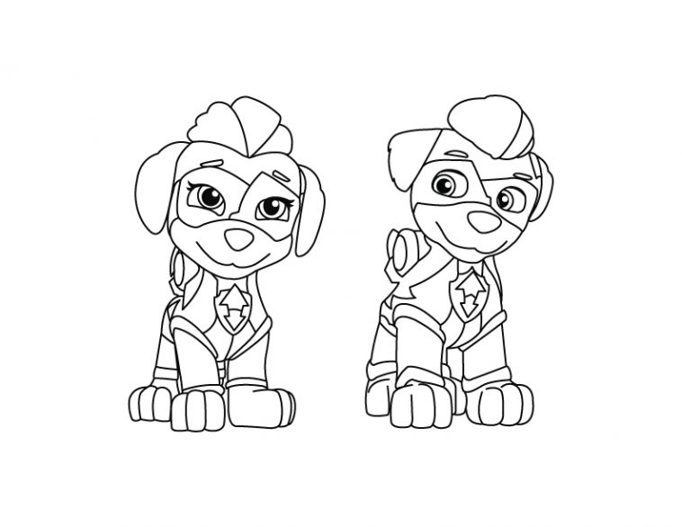 - Mighty Twins - Paw Patrol Coloring Page - DRAKL