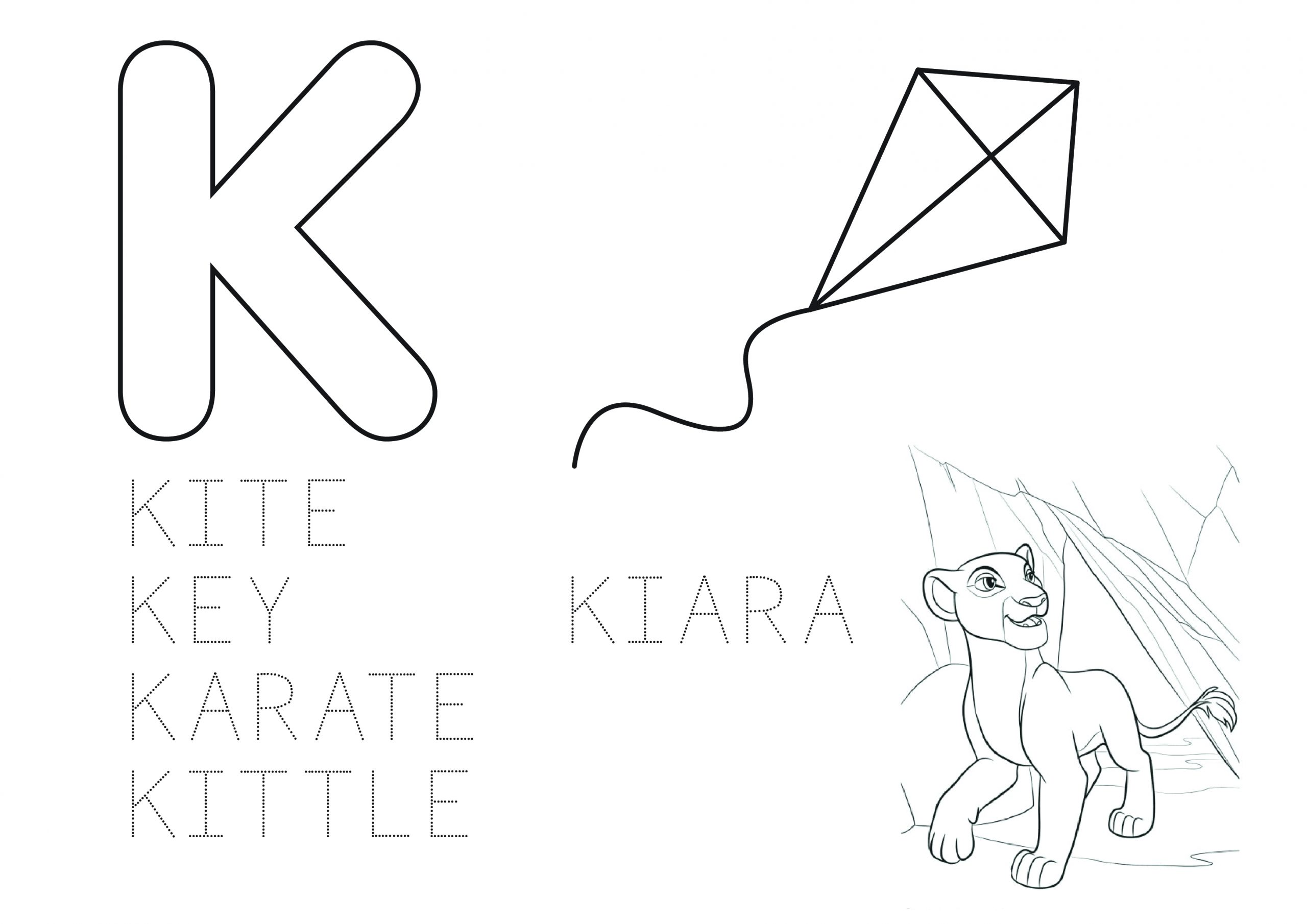 Learn the Alphabet Coloring Page - Letter K with Kiara ...
